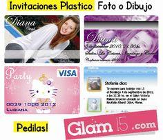 Invitaciones en plastico, fotos, tipo msn, dibujos o lo que mas te guste! Pedilas en http://glam15.com/invitacionesfullcolor/