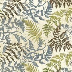 blue, green, brown fern fabric Stonehenge Woodland Fern Spring/Summer via pacificfabrics.com