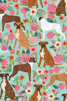 boxer dog flowers florals mint cute flowers trendy painted vintage florals boxer dogs by petfriendly - Boxer dog illustration with red roses and pink flowers on fabric, wallpaper, and gift wrap. Animals Beautiful, Cute Animals, Dog Wallpaper, Fabric Wallpaper, Heart Wallpaper, Wallpaper Backgrounds, Iphone Wallpaper, Pet Dogs, Pets