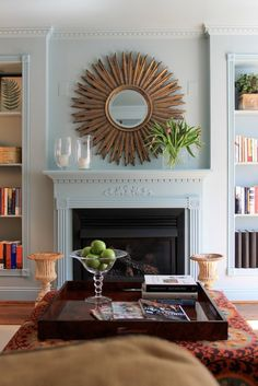 """I lied, I do still love the starburst and this mirror over your fireplace would be amazeballs. (can't believe I just said amazeballs) 41"""" in diameter - how does that fill the space over the fireplace?"""