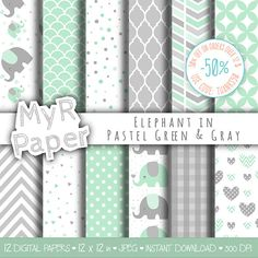 Elephant digital paper: Mint & Gray elephants papers pack of backgrounds and patterns - perfect for Baby Shower 50% OFF ON ORDERS OVER 12 $ (OR NEARLY 12 €) USE CODE: THANKS50 Here You Can Find Cliparts Matched To These Papers :