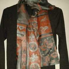 Handpainted Silk Scarf Elegant Grey Coral Pink Scarf Exclusive