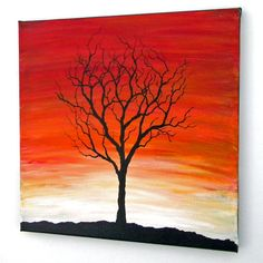 Sunset or Sunrise Tree Painting 12X12 by blablover5 on Etsy, $35.00