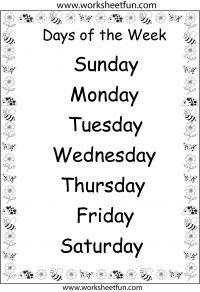 Days of the Week – 1 Worksheet