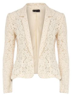 Cream lace blazer,can be worn over any plain colored bottom Lace Blazer, Lace Jacket, Cream Blazer, Cream Jacket, Pink Jacket, Look Hippie Chic, Look Chic, Mode Zendaya, Pink Beige