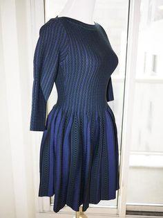 Alaia Dress (Women's Pre-owned Azzedine Black & Blue Knife Pleated Dress)