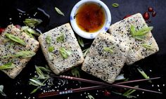 vegan: sesame crusted tofu...