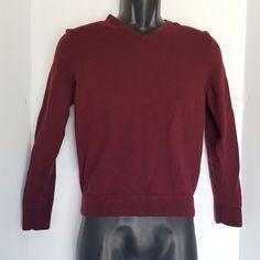 John W. Nordstrom Mens/Boys Burgundy Italian  Merino Wool V Neck Sweater Size M #JohnWNordstrom #VNeck