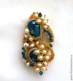 """Броши ручной работы. Ярмарка Мастеров - ручная работа Брошь """"Золотые визерунки"""". Handmade.  #beadwork"""