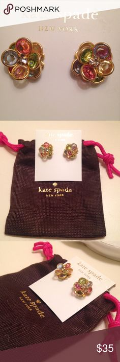 Kate Spade Earrings Colorful gold Kate spade studs. Excellent condition! Reasonable offers always considered, feel free to ask questions. ☺️***The cross pendant is NOT Kate spade, but it matches the earrings perfectly so I'll throw it in if you'd like it*** kate spade Jewelry Earrings