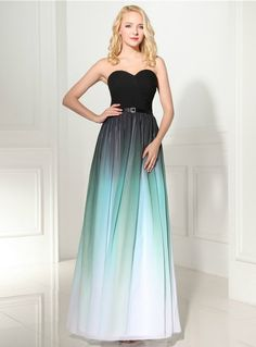 9efe521f9830 Green Gradual Change Color Chiffon Sweetheart Neck Pleats Prom Dress
