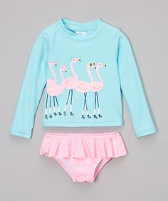 Carters Blue Flamingo Rashguard Set - Infant & Girls | zulily