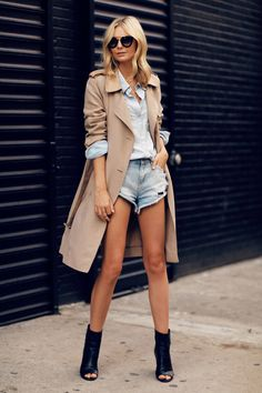 open toe booties tuula vintage chanel black trenchcoat denim cutoffs