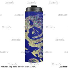 Shop Nature's way floral on blue thermal tumbler created by DISENIAZ. Royal Blue Background, Custom Tumblers, Travel Mug, Floral Design, Water Bottle, Mugs, Personalized Tumblers, Floral Patterns, Tumblers