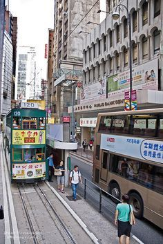 Hong Kong Street Scene with Double-Decker Tram and Bus by D200-PAUL -- Thank you for 475K Views, via Flickr