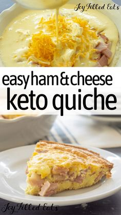This satisfying Keto Quiche recipe is so flavorful and easy it's one for the record books. Hearty eggs, creamy cheese, and ham are beautifully seasoned and cooked in this quiche. Once that first bite hits your tongue you will be hooked. Keep this recipe handy because you will need it again. This easy low carb quiche recipe is gluten-free, grain-free, sugar-free, and Trim Healthy Mama friendly. Low Carb Quiche, Keto Quiche, Quiche Recipes, Brunch Recipes, Healthy Dinner Recipes, Low Carb Recipes, Cooking Recipes, Protein Recipes, Creamy Cheese