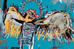 Jean-Michel Basquiat, Senza titolo/Fallen Angel (1981, acrilico, pastello a olio e aerografo su tela)