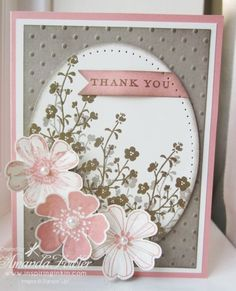 handmade thank you card ... gray, pink & white ... oval with off stmped little flowers and pierced edges ... three stamped and die cut flowers with pearl centers ... sweet card! ... Stampin' Up!