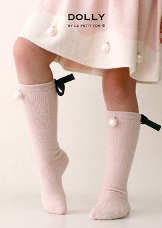 DOLLY da Le Petit Tom ® perlati alti calzini GINOCCHIO luce rosa