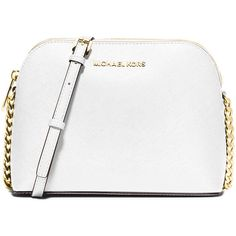 MICHAEL Michael Kors Cindy Large Dome Crossbody Bag ($180) ❤ liked on Polyvore featuring bags, handbags, shoulder bags, optic white, white purse, chain handbags, chain purse, chain shoulder bag and white handbags