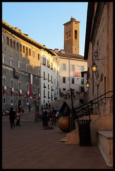 Piazza del Duomo Cathedral Square was an area which already existed in Roman times. On de right side of de road-building Racani Arroni n de home of Maestro Giancarlo Menotti, now a museum, in Spoleto, Perugia, Umbria_ Italy