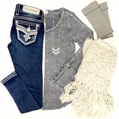 "ALL.  NEW.  ARRIVALS. \ the latest and greatest in stores now! TAG YOUR SANTA!  Call us to place your order for in store pickup, WE SHIP too!! Button Cuff Thermal $46 | S, M & L Rock Revival ""Fabiola"" Skinny Jean $169 Glove Double Chevron Necklace $18 Cream Chunky Knit Fringe Infinity Scarf $25 Herringbone Fingerless Gloves $18 #htholiday #shophoitytoity"