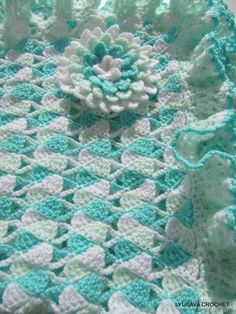 (Tools/Supplies) check out the entire shop for more cool patterns Baby Blanket Crochet TUTORIAL PATTERN PDF File, Baby Blanket White Turquoise Sky, Lyubava Crochet Pattern number 24 Crochet Afghans, Crochet Borders, Crochet Flower Patterns, Crochet Blanket Patterns, Baby Blanket Crochet, Baby Patterns, Crochet Flowers, Crochet Stitches, Knitting Patterns