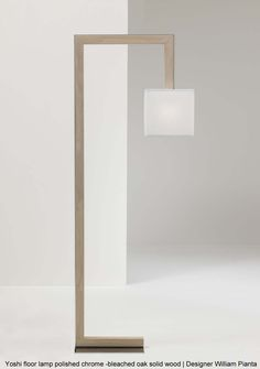 Yoshi floor lamp polished chrome - bleached oak solid wood | Designer William Pianta
