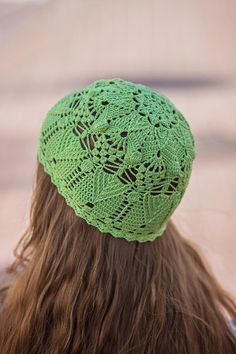 Fitted Crochet Hat For Women - Summer Cotton Womens Beanie Hat - Green  Apple ItWasYarn Hat - Lace Ya f8816df6f