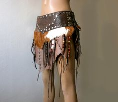 Dream Warriors brown leather skirt / loincloth with fur, fringe & beads. Primitive tribal pagan voodoo barbarian viking wiccan larp cosplay