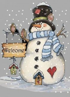 Holiday Christmas Cross Stitch Pattern--Snowman Welcome---New Years Eve--- Christmas Rock, Christmas Canvas, Christmas Paintings, Christmas Signs, Christmas Snowman, Winter Christmas, Vintage Christmas, Christmas Decorations, Christmas Ornaments