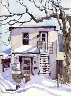 Shari Blaukopf - Chocolatier in Winter (Urban Sketchers) Watercolor Sketch, Watercolor Illustration, Watercolor Paintings, Watercolors, Watercolor Lesson, Watercolor Architecture, Watercolor Landscape, Bg Design, Interior Design