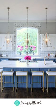 modern kitchen lights television glam gold lighting by jennifer allwood lantern in open concept makeover ideas island light fixtures pendant blue and