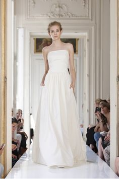 Delphine Manivet   Long strapless wool dress lined with silk.   LOVE the way this dress flows!