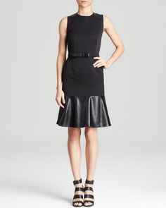 Magaschoni Mixed Media Belted Dress | Bloomingdales's