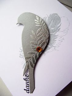 Lovely - clear embossing on diecut bird. Links to a card artist with a great graphic design sense. Heartfelt Creations, Card Making Inspiration, Making Ideas, Feather Cards, Embossed Cards, Bird Cards, Card Making Techniques, Card Tutorials, Sympathy Cards