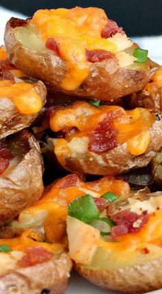 Chicken Bacon Alfredo Potato Skins