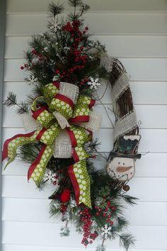 rustic wreaths   Wreath, Snowman Wreath, Rustic, Holiday Wreaths, Front Door Wreaths ...