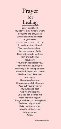 Prayer for healing – Prayer For Anxiety Prayer Times, Prayer Scriptures, Bible Prayers, Faith Prayer, God Prayer, Prayer Quotes, Spiritual Quotes, Bible Quotes, Prayer For Courage