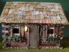 fairytale log cabin dollhouse miniature fairy house project with hedgehog family. Fairy House Crafts, Fairy Garden Houses, Fairy Gardens, Cabin Dollhouse, Dollhouse Miniatures, Little Cabin, Little Houses, Mini Houses, Miniature Houses