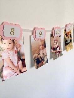 This pink and gold 12 months banner is ideal to show your little ones first year journey month by month. It will give the magical touch to your party. You can hang it up on a wall or just round the table. Each scallop has a 3D effect. All of them have a tiny clothe pin attached to the back to hang up your pictures (as shown on the listing images). They fit horizontal and vertical photos. This listing is for a 12 months photo banner ready to use with numbers in gold glitter. For silver…