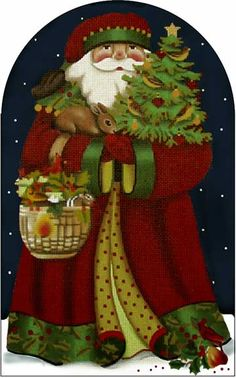 Melissa Shirley Designs | Hand Painted Needlepoint | Fireside Forest Santa