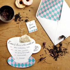 could be used for a charity coffee/tea morning. Add some lovely aromatic tea bags to these printable tea party invites. Free templates.