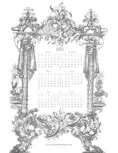 french-ornate-calendar-january-june 2013 calendar