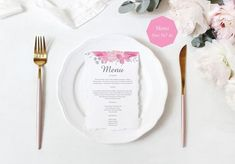 Pink Floral Menu Card Template, Pink Floral Menu Card Printable, Instant Download, Pdf Editable.  ------------------ #menucard #weddingmenu #printablewedding #invitationpdf #menutemplate #watercolorinvitation #etsyinvitations #weddinginvitation #menuprintable #wedding #printable  #pinkwedding  #pinkmenu