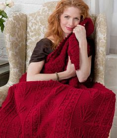 This pattern may be easier than the other red afghan from redheart. Only bobble stitches and post stitches. I think I can do that. It is crocheted all in one--not strips or squares. It is also listed as EASY.