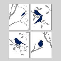 Bird Prints Bird Artwork Bird Decor Bird Wall Art Navy Bird Art Set of 4 Prints Nature Wall Art Bird Bedroom Art Navy - CHOOSE YOUR COLORS