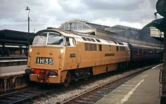 'Western Enterprise' in her experimental, 'Desert Sand' livery at Paddington, Sept Built at Swindon Works and delivered to Laira Depot on Dec Withdrawn on Feb 1974 and cut up at Swindon Works on July (David Christie) Electric Locomotive, Diesel Locomotive, Steam Locomotive, Locs, Steam Railway, Train Pictures, Electric Train, British Rail, Old Trains
