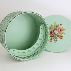 Vintage Princess Aqua Wicker Sewing Basket by undoneeclectic, $30.00