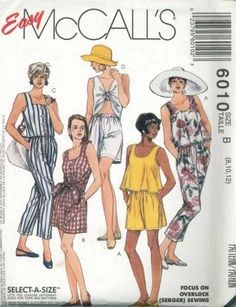 An unused original ca. 1992 McCall's pattern 6010.  Misses' Novelty Tops and Pants or Shorts:  Sleeveless tops have neckline variations; trapeze type view A is pullover; view B with front extensions forming ties and view C have front button closure; pullover view D has elastic through self-fabric loop over front gathers; pull-on cropped pants and shorts have elastic fold-back waistline casing and side seam pockets.